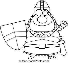 Waving Cartoon Knight