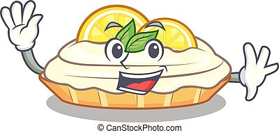 Waving cartoon lemon cake with lemon slice