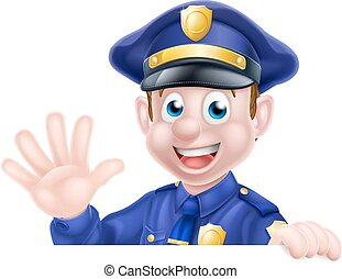 Waving Cartoon Police Man