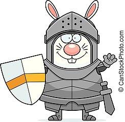 Waving Cartoon Rabbit Knight