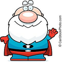 Waving Cartoon Superhero Grandpa - A cartoon illustration of...
