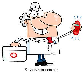waving, caucasiano, doutor masculino