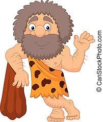 waving, caveman, caricatura, mão