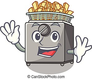 Waving character deep fryer on restaurant kitchen vector...
