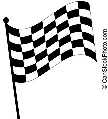 waving checkered fag on white background - waving checkered...