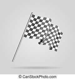 Waving Checkered racing flag. Vector - Waving Checkered...