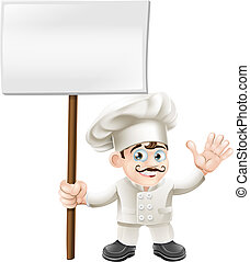Waving chef holding sign