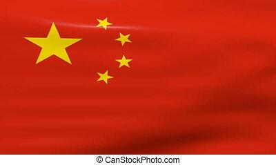 Waving China Flag, loop ready.