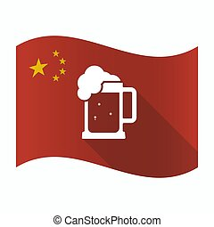 Waving China flag with a beer jar icon