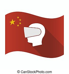Waving China flag with a male head wearing a virtual reality headset