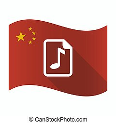 Waving China flag with a music score icon