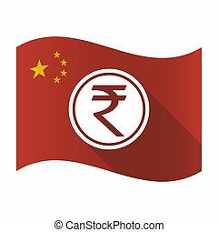 Waving China flag with  a rupee coin icon