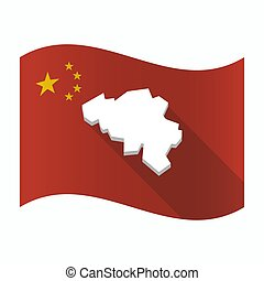 Waving China flag with the map of Belgium
