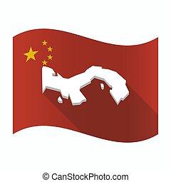 Waving China flag with  the Panama map