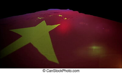 """""""Exciting 3d rendering of a large Chinese banner with a golden star and four small stars put in a semicircle in the red field flapping in black background. It moves up like a dynamic way. """""""