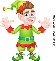 Waving Christmas Elf - Cartoon Christmas Elf or one of Santa...