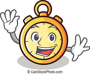 Waving chronometer character cartoon style