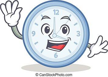 Waving clock character cartoon style