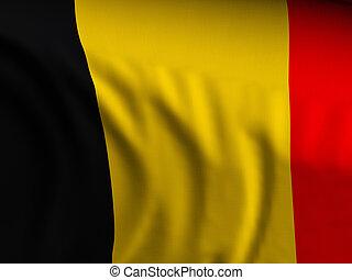 Waving close-up Belgium flag background. 3d illustration.