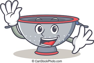 Waving colander utensil character cartoon vector...
