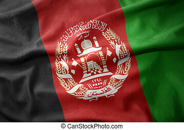 waving colorful flag of afghanistan.