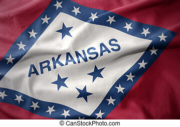 waving colorful flag of arkansas state.