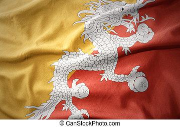 waving colorful flag of bhutan.