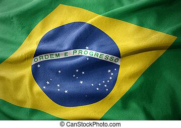 waving colorful flag of brazil.