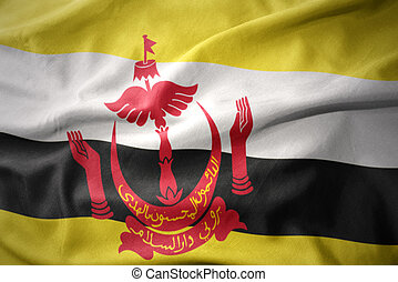 waving colorful flag of brunei.