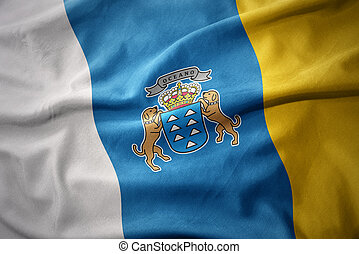 waving colorful flag of canary islands.