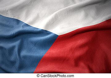 waving colorful flag of czech republic.