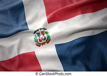 waving colorful flag of dominican republic. - waving...