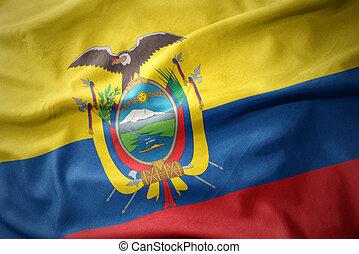 waving colorful flag of ecuador.