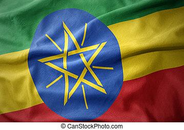 waving colorful flag of ethiopia.
