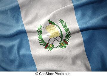 waving colorful flag of guatemala.