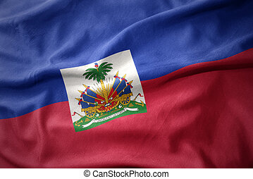 waving colorful flag of haiti.