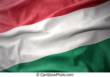 waving colorful flag of hungary.