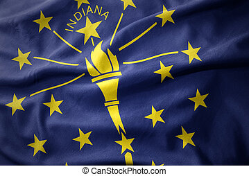 waving colorful flag of indiana state.