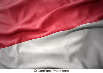 waving colorful flag of indonesia.