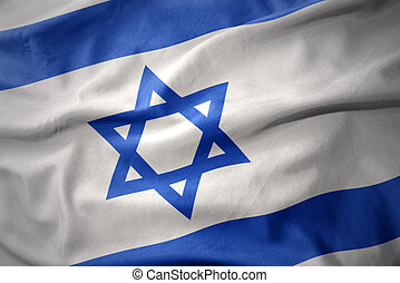 waving colorful flag of israel.