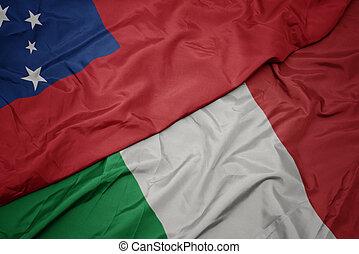 waving colorful flag of italy and national flag of Samoa ,.