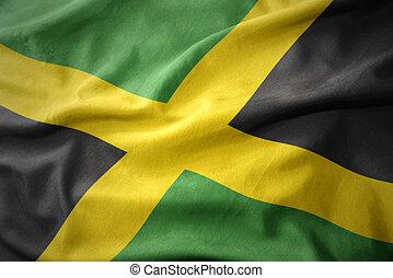 waving colorful flag of jamaica.