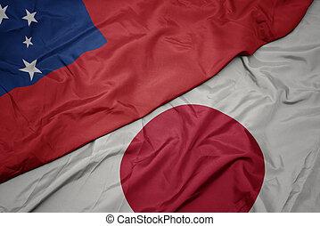 waving colorful flag of japan and national flag of Samoa.