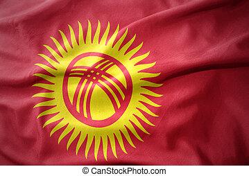waving colorful flag of kyrgyzstan.