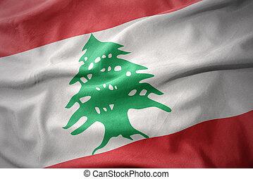 waving colorful flag of lebanon.