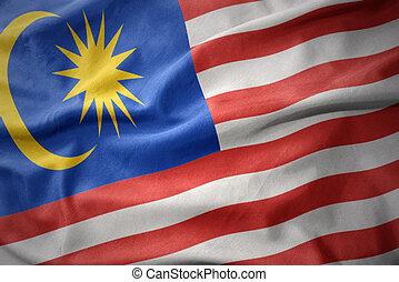 waving colorful flag of malaysia.