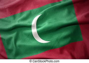 waving colorful flag of maldives.
