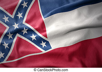 waving colorful flag of mississippi state.
