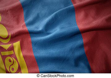 waving colorful flag of mongolia.