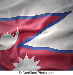 waving colorful flag of nepal.